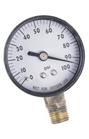 A pressure gauge in line with your well and pressure tank provide the water system pressure rating.