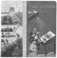 "The first camera, the ""camera obscura"" was a large room with a hole."