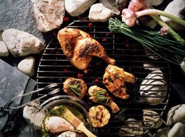 Baste the chicken with reserved marinade while grilling.
