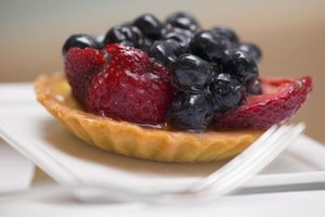 Glazed blueberries are beautiful on a tart.