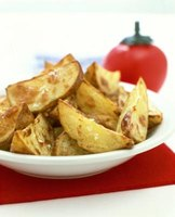 Batter gives potato wedges crunch and flavor.