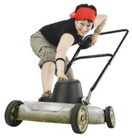 The lawnmower works several muscles in the back, arms and core.