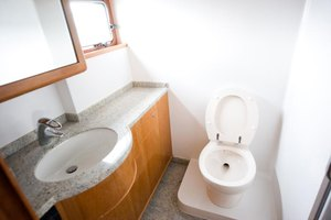 The interior of a modern water closet.