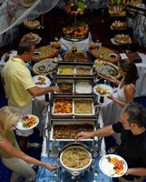 Caterers use chafers to display food and keep it warm.