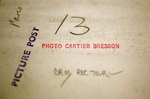 The back of a photo authenticating that it was taken by Cartier-Bresson.