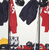Hockey equipment bathes in sweat after a game.