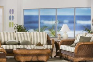 Rattan furniture has a breezy island style.