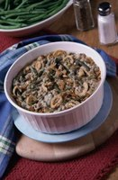 The classic green bean casserole also includes a topping of crunchy fried onions.