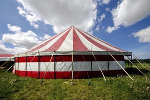 Large red and white striped tent.