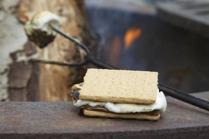 The heat from a toasted marshmallow softens chocolate but doesn't completely melt it.