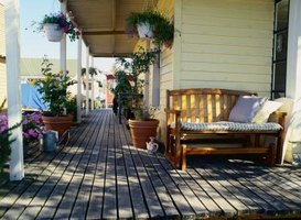 Use batter boards to square the corner posts of your deck.
