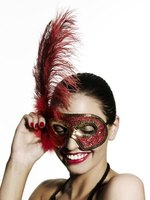 Half-masks are a common decoration for a masquerade party.
