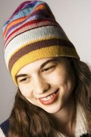 A fleece lining inside a knit hat is invisible from the outside.