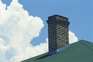 Metal flashing around the base of the chimney prevents serious leaks.