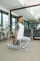 Use dumbbells to increase the intensity of lunges.