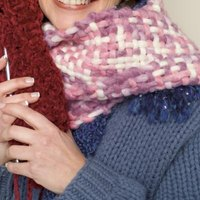Experiment with different yarns when knitting cowls.