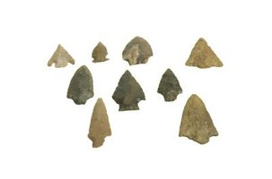 Arrowheads made from a wide variety of stones