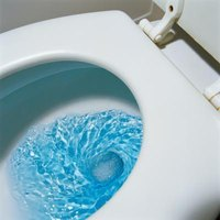 The rapid release of water from the toilet's tank carries waste to the sewer.