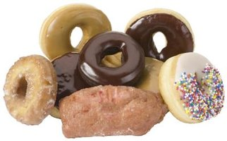 Glazed doughnuts, cruellers, fritters and cake doughnuts are four popular types of doughnut.