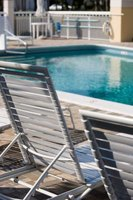 Strapping style chairs are popular for poolside lounging.