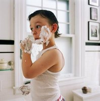 Kids can use shaving cream for crafts and educational activities.