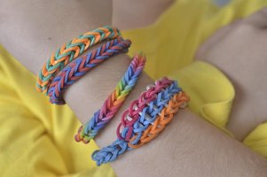 Plastic bracelets are a colorful way for children to express themselves.