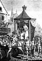 Elizabeth I rides in a procession in what may be a type of horse-drawn carriage.