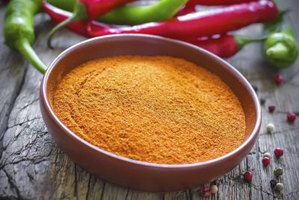 A bowl of dried cayenne pepper.