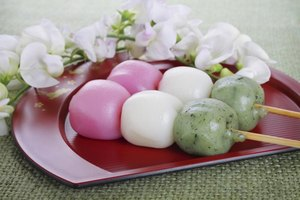 Tri-colored chi chi dango is a traditional festive treat.