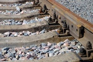 A close up of railroad ties.