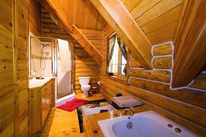 A rustic bathroom takes advantage of log cabin walls.