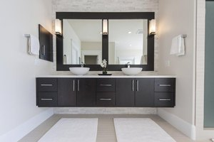 Modern bathroom with cabinets.