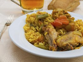 Add braised chicken and chorizo to Spanish rice after cooking for inland paella.