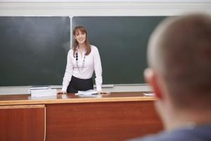 Substitute teacher in front of classroom