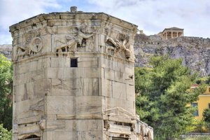 The ancient Tower of the Winds in Athens, Greece.