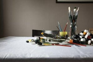 Brushes should be washed with soap and  warm water after painting with textile mediums.