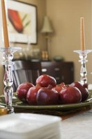 Fruit provides an attractive and low-cost element for centerpieces.
