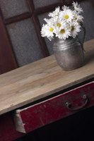 A rustic piece of wood cabinet transforms into a simple countertop.
