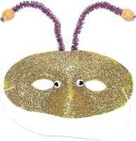 Attaching sparkly pipe cleaners to a face mask is a quick way to transform into a space alien.