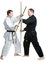 The bo staff is commonly used in Kung Fu weapon forms.
