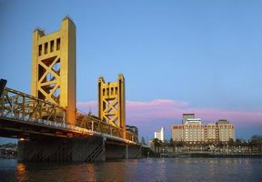 The Sacramento River travels under the iconic Tower Bridge.
