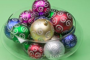 Ornaments in a glass bowl