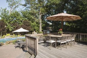 A hemlock deck provides a place to gather in nice weather.