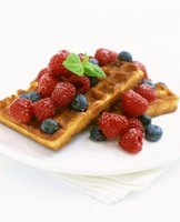 Honey-sweetened waffles can be eaten without syrup.