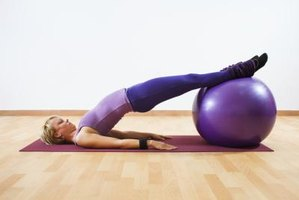 An exercise ball can make the bridge exercise more challenging.