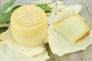 Percorino romano cheese on pita bread