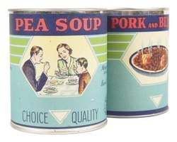 Peel off soup can labels before beginning craft projects.