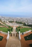 A view of the Mediterranean from the famous Baha'i Shrine and Gardens in Haifa.