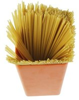 Add a ribbon to a plain container of spaghetti for a simple decoration.