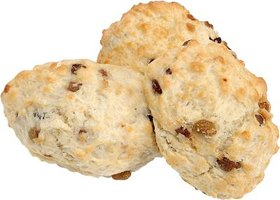 Cream scones often contain dried fruit and nuts.